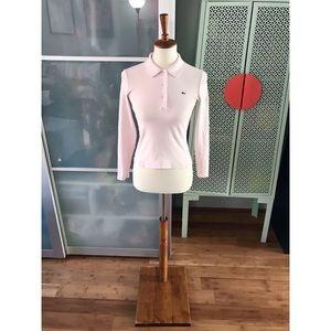 Lacoste Slim Fit Stretch Mini Piqué Top in Pink